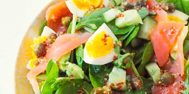 Salada de salmão com vinagrete