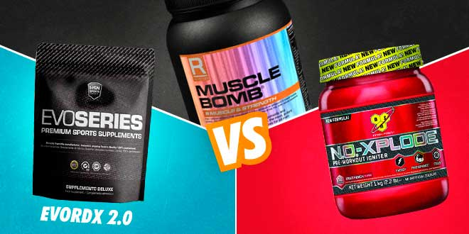 Comparativa: EvoRDX 2.0 VS Muscle Bomb VS NO-Xplode 3.0
