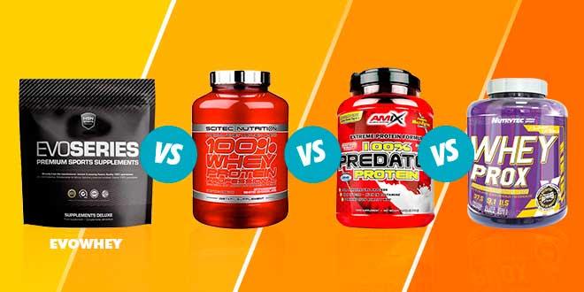 Comparativa: Evowhey VS 100% Whey Protein Professional VS 100% Predator VS Whey Prox