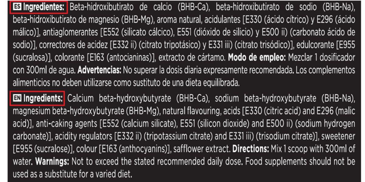 Lista de ingredientes de KetoBHB de HSN