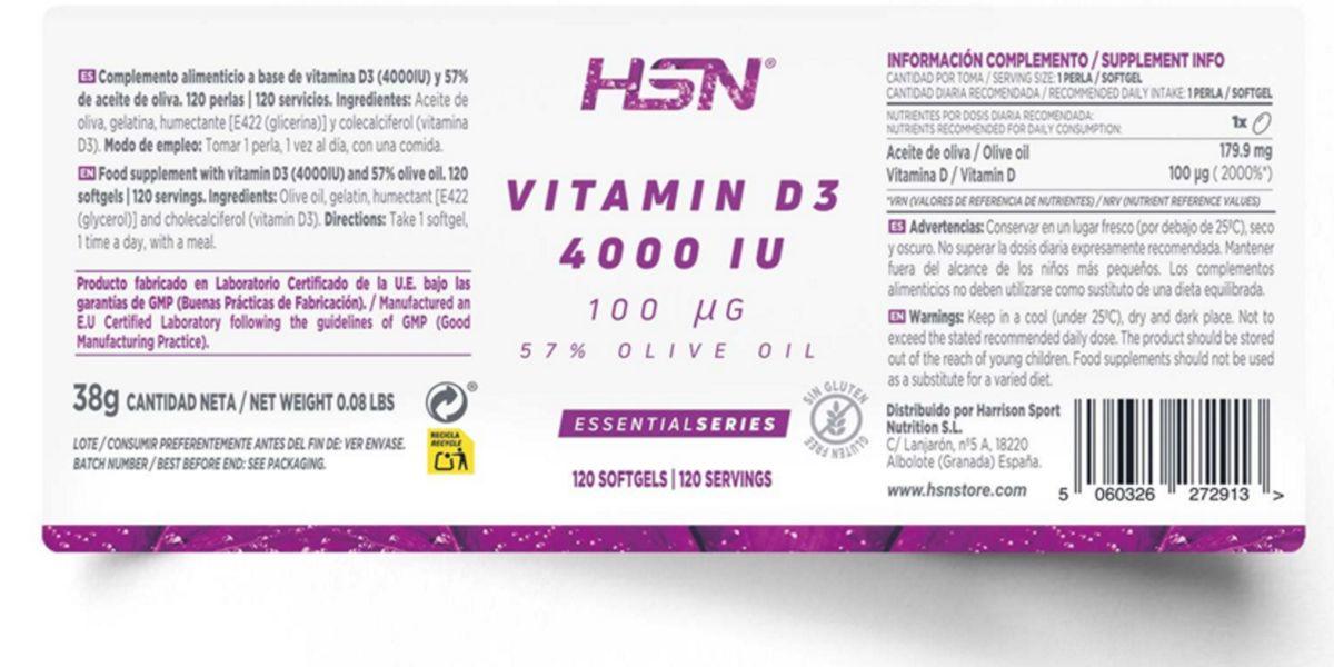 Etiqueta de Vitamina D3 de HSN