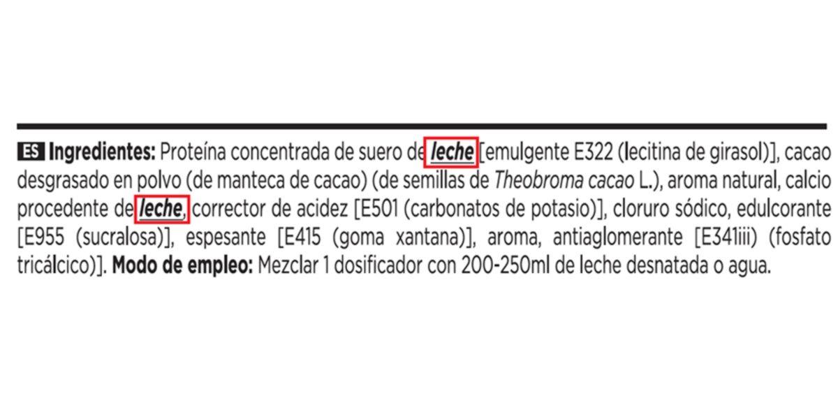 Lista de ingredientes de Evonative Whey de HSN