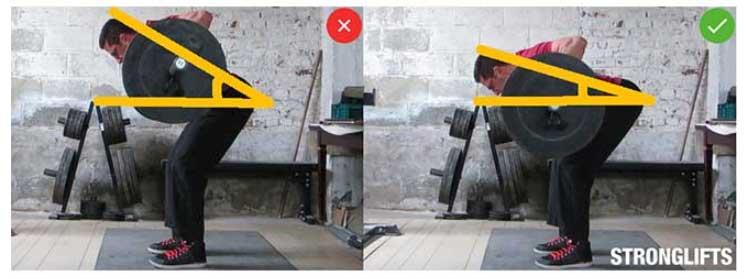 Inclinación del torso en remo con barra