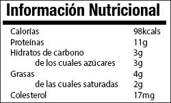 Queso cottage info nutricional