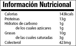 Huevo info nutricional