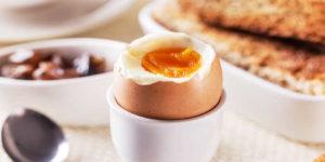 Huevo cocido, pan tostado y fruta