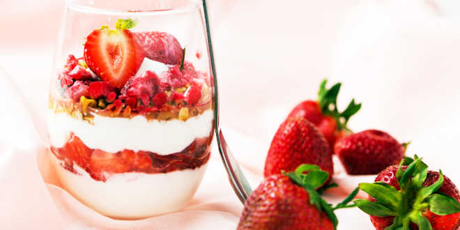 Muesli, fresh fruit and low-fat yogurt