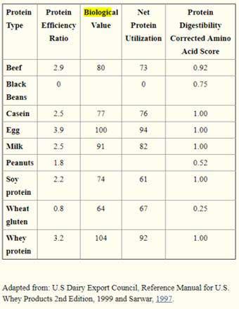 Valoración calidad de fuentes de proteínas