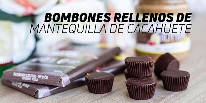Bombones de Chocolate rellenos de Mantequilla de Cacahuete