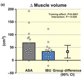 Cambios en volumen muscular