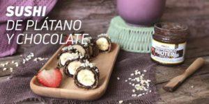 Sushi con plátano y chocolate