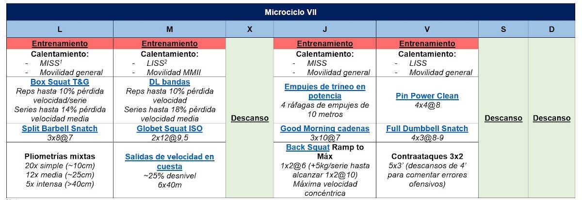 Microciclo VII Sesiones de Gimnasio en Baloncesto
