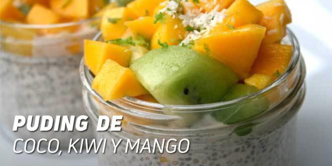 Puding de Coco con Kiwi y Mango