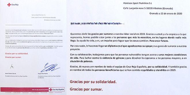 Agradecimiento carta Cruz Roja a HSN