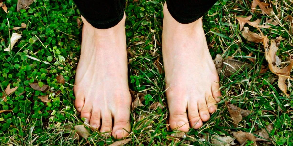 descalzo por el jardín