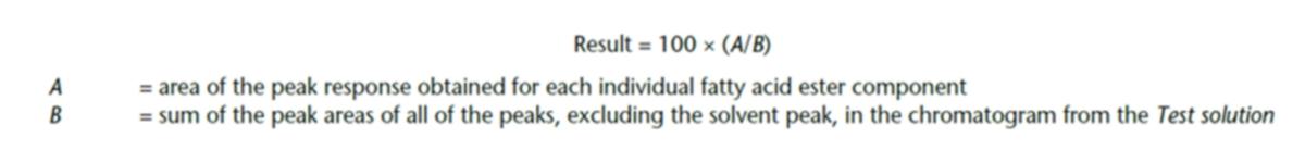 Fórmula de la medición del porcentaje de ácidos grasos en área