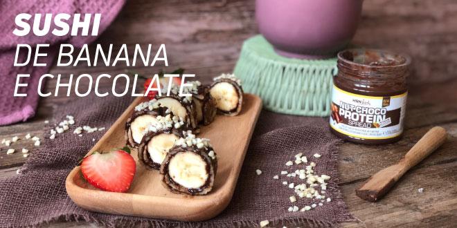 Sushi de Banana e Chocolate