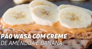 Pão Wasa com creme de amêndoa e banana