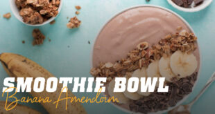 Smoothie bowl banana amendoim