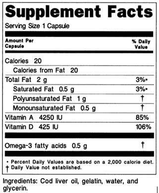Exemplo de informações nutricionais nos Estados Unidos