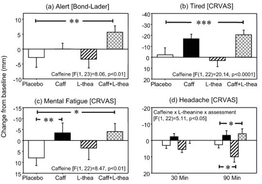 Cafeína L-Teanina Placebo Comparação