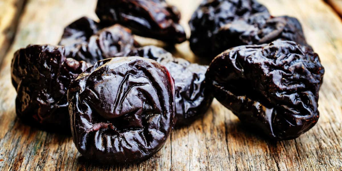 Ameixas, passas e damascos secos - potássio