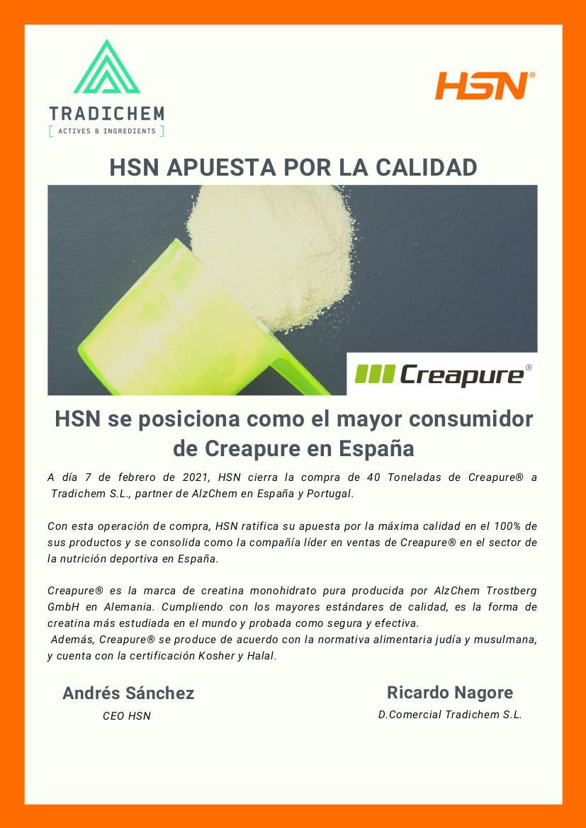 HSN acordo de compra para 2021