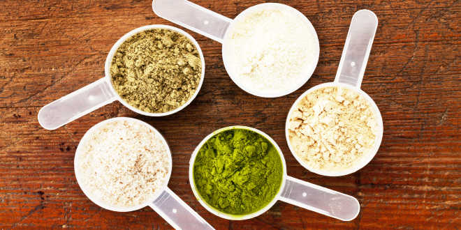 Diverse fonti di proteine vegetali in polvere