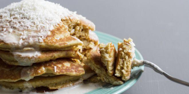 Pancakes d'Avena e Albumi con Cocco Disidratato