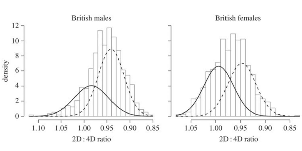 Istogramma che mostra la distribuzione dei soggetti in entrambi i sessi e il loro digit ratio.