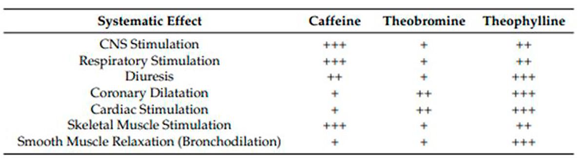 Tableau comparatif des méthylxanthines