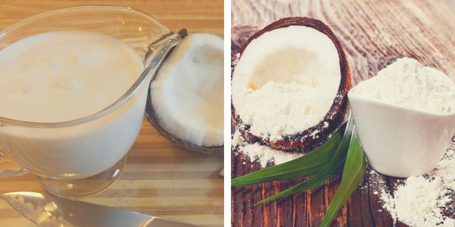 Produits de lait et farine de noix de coco