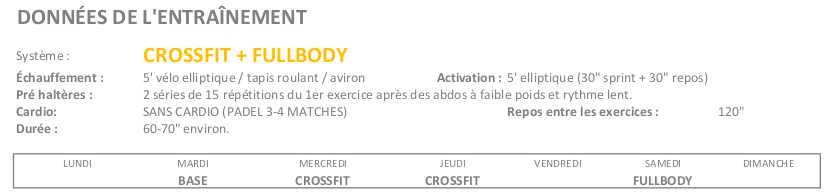 Exercices cétogène semaine 9