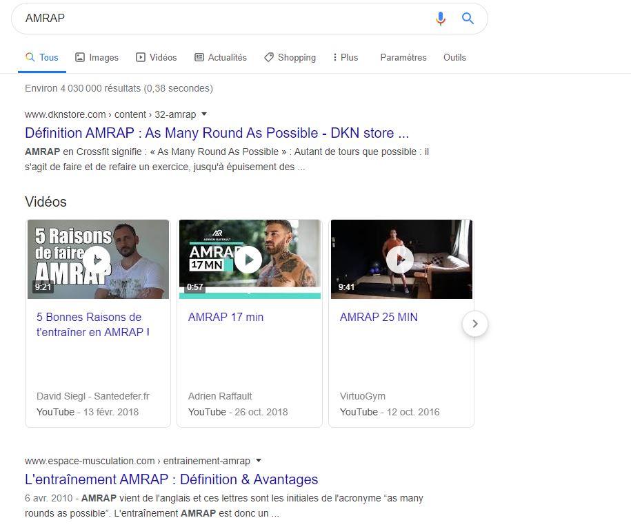 Amrap sur Google fr