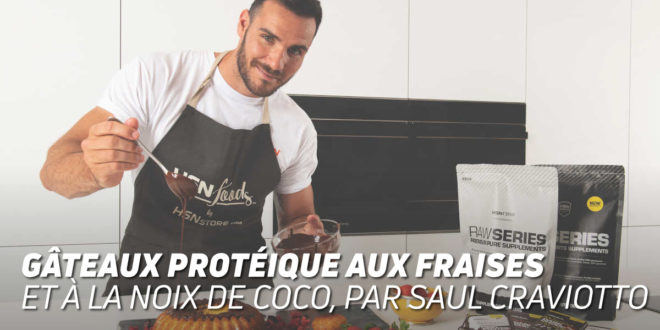 Gâteau Protéique aux Fraises et Noix de Coco, par Saúl Craviotto
