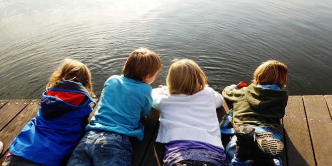 Children on a lake