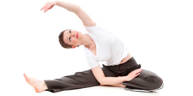 Woman doing yoga or stretching