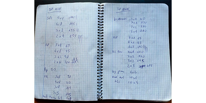 Training diary example