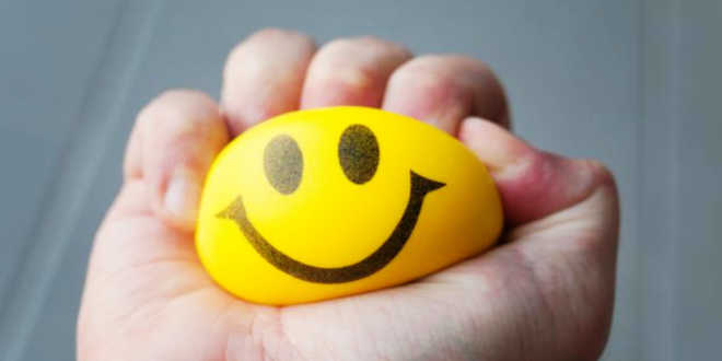 Anti-stress ball with a happy face