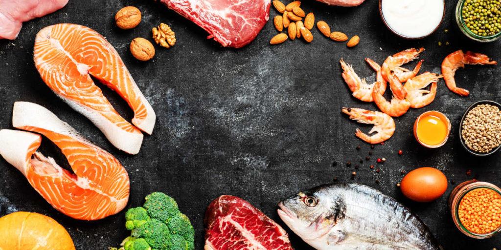 Salmon, meat, walnuts, prawns, broccoli...