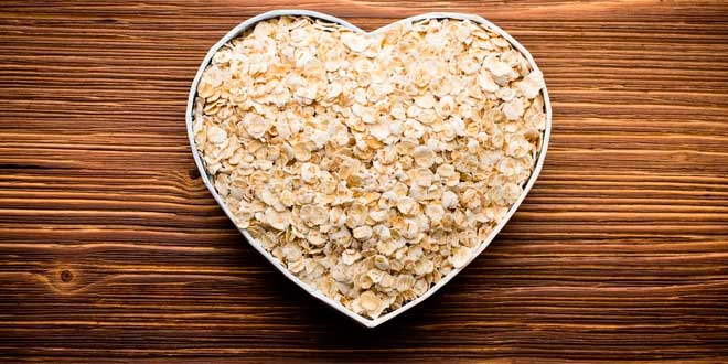 Oats in a heart-shaped bowl