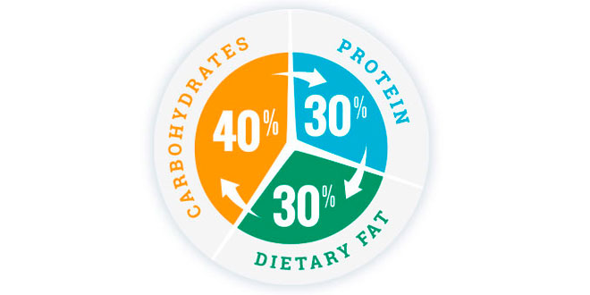 Distribution of Carbs, Protein and Dietary Fat