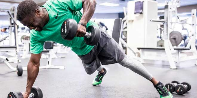 A man doing exercise at the gym