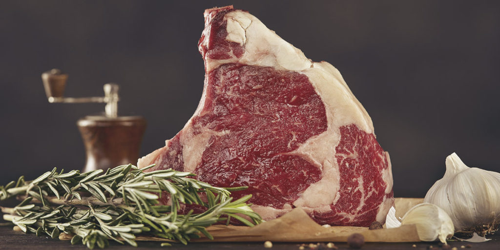 Beef meat with garlic and rosemary