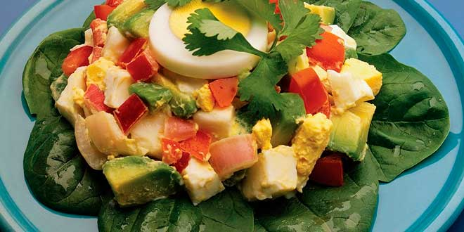 Healthy and versatile salads with egg