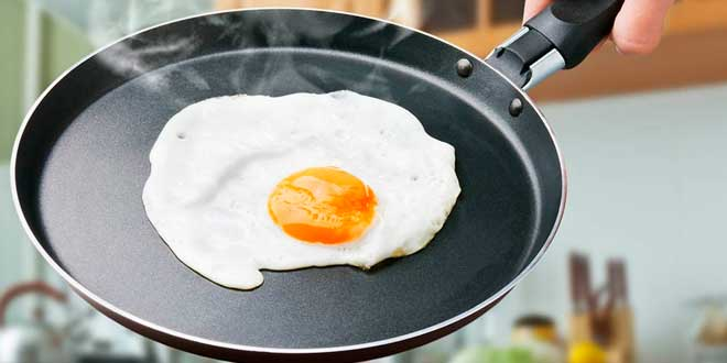 Grilled egg in a pan