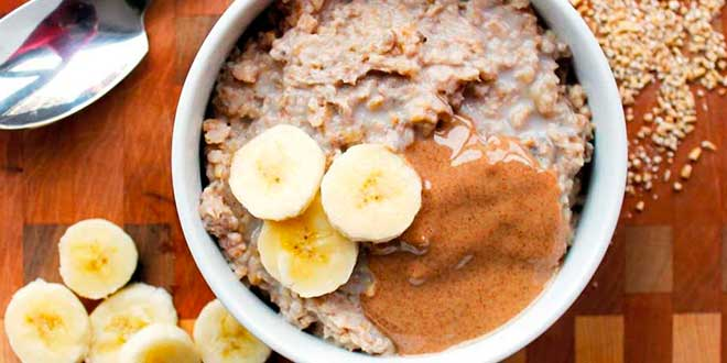 Oat Porridge with Almond Butter and Banana