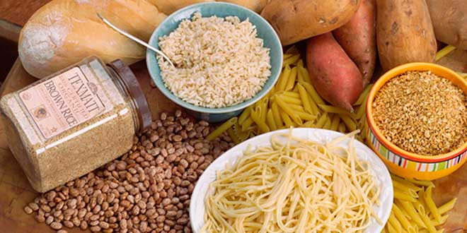 Pasta, rice, cereals in bowls