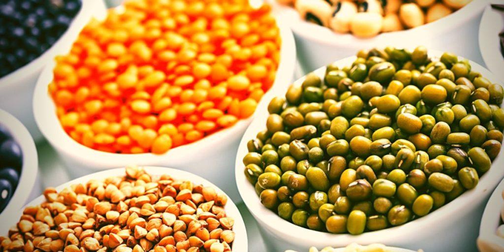 Legumes on bowls