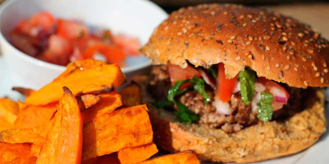 Chickpea Hamburger and fried sweet potato with Tahini sauce